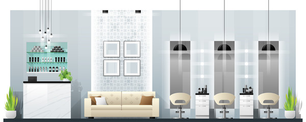 Interior scene of modern beauty salon , vector , illustration