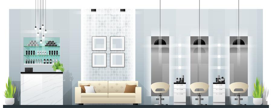 Interior scene of modern beauty salon , vector , illustration
