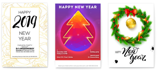 Set of holiday posters for Happy New Year events. Greetings poster with golden, Christmas toys, wreath of fir branches, calligraphic text and Christmas tree. Vector illustration for holidays, eps 10.