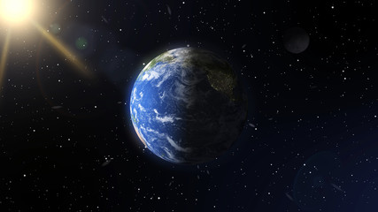 Realistic planet earth and moon in space. Elements of this image furnished by NASA