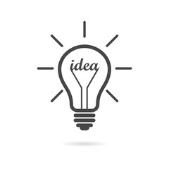 Black Light bulb, idea icon or logo