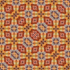 Modern flat rug. Eastern style elements in autumn colors
