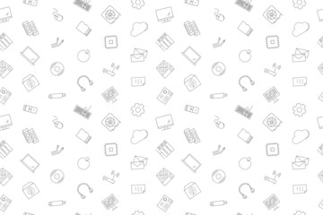 Computer component background from line icon. Linear vector pattern. Vector illustration