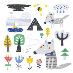 Doodle set- mountains, trees and wolf. Vector Illustration. Scandinavian design.