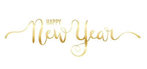 Wall Mural - HAPPY NEW YEAR metallic gold brush calligraphy banner