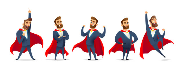 Businessman in a superhero costume. Character collection of business hero in various poses. Super manager set.