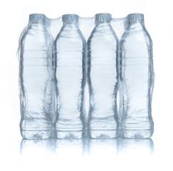 Foto op Plexiglas Water Plastic bottles water in wrapped package on white background