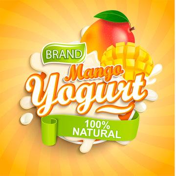 Fresh and Natural Mango Yogurt label splash on sunburst background for your brand, logo, template, label, emblem for groceries, agriculture stores, packaging and advertising. Vector illustration.