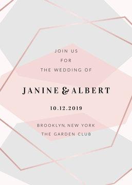 Modern Geometric Design Wedding Invitation Template