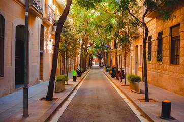 Foto auf Acrylglas Barcelona The shady street of Barcelona. Spain. September 25, 2018