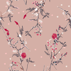Trendy  Floral pattern in the many kind of flowers. Tropical botanical  Motifs scattered random. Seamless vector texture. For fashion prints