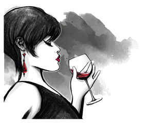 Poster de jardin Art Studio woman drinking red wine