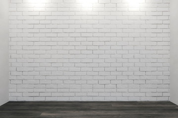 Contemporary interior with brick wall