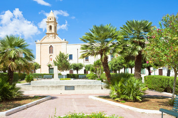 Presicce, Apulia - Relaxing in the calm park in front of the church