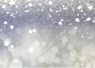 christmas lights bokeh defocused light silver gray background