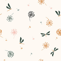 Seamless pattern vector  with water wind blow flowers and dragonflies. beautiful hand-drawn