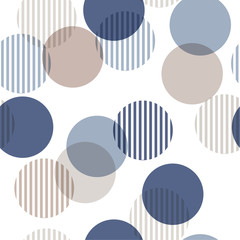 Vector seamless pattern. Monotone blue and beige Abstract background with roundpolka dots mix in stripe. Freshing color texture