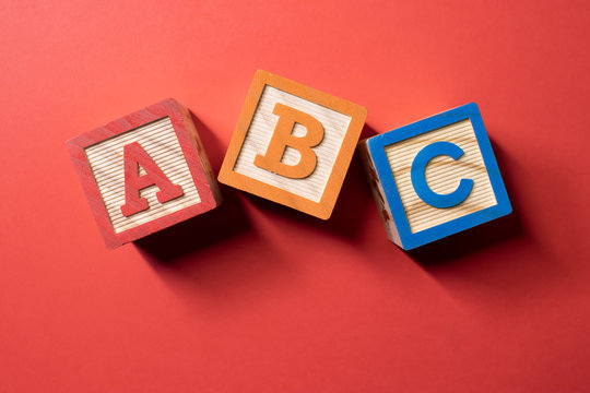 A, B and C wooden blocks