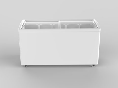 Blank ice cream freezer isolated for branding design. 3d render illustration.