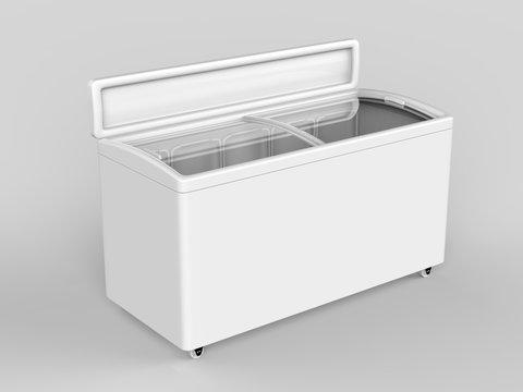 Blank ice cream freezer isolated for branding design. 3d render illustration.