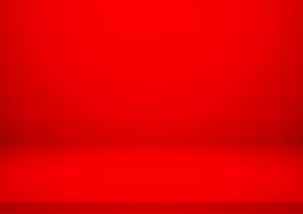 Wall Mural - Empty red color product showcase. Studio room background. Used as background for display your product, Vector