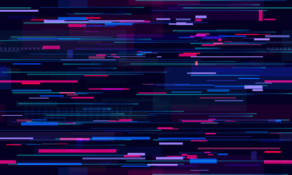 Futuristic neon glitch background. Glitched nightlife tech lines, street light motion and technology seamless pattern vector design