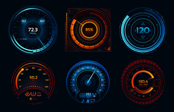Speedometer indicators. Power meters, fast or slow internet connection speed meter stages vector concept