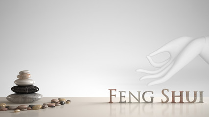 White table shelf with pebble balance and 3d letters making the word feng shui over white hand in gyan mudra, yoga meditation, zen concept interior design