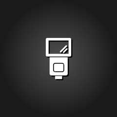 Flush bulb icon flat. Simple White pictogram on black background with shadow. Vector illustration symbol