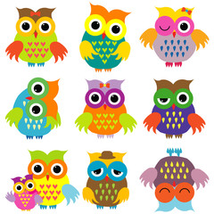 Colorful cartoon owls set