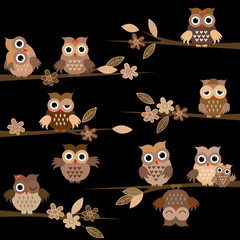 Cute brown cartoon owls in the night