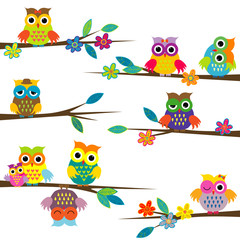 Cute cartoon owls on tree branch