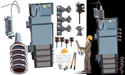 High Voltage Equipment Parts set 2 in 2 info graphic vector cartoon