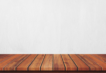 Empty wood table top on white concrete background, Template mock up for display of product