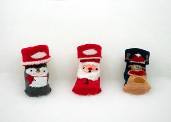 Babysöckchen mit Weihnachtsmotiv
