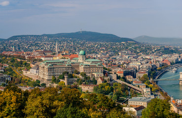 View of the Castle Hill, from the Gellert Hill, in Budapest, Hungary. The Castle of Buda dominates the picture.