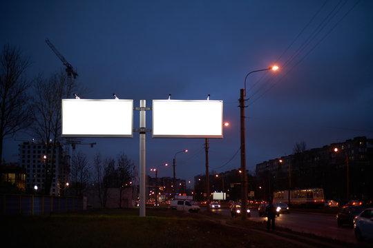 Two Billboard 2 Big white billboard on lighting street at night