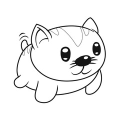 A cute little cat cartoon character in kawaii style. Nice for coloring books. Vector illustration