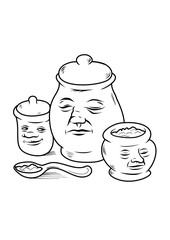 Three jar characters with a spoon in cartoon style. Vector illustration