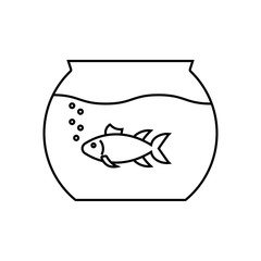 Aquarium linear icon. Thin line illustration. Fishkeeping. Fish tank. Contour symbol. Vector isolated outline drawing.