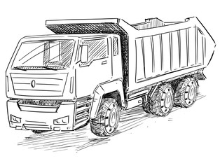 Vector artistic pen and ink sketch drawing illustration of Dump Truck