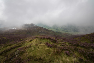 Mist covering the valley of Great Langdale