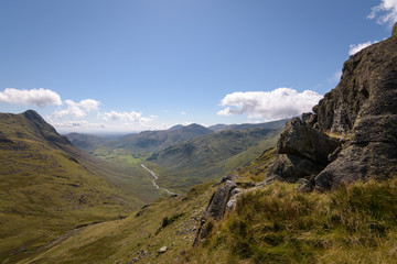 Beautiful view into the great Langdale valley from stake pass with river