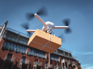 The drone is flying with the parcel to the customer Wall mural