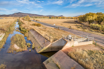 water diversion ditch at foothills of Rocky Mountains