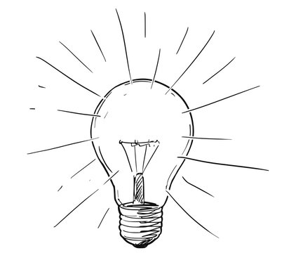 Vector artistic conceptual pen and ink sketch drawing illustration of shining or glowing light bulb.