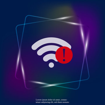 No WiFi vector neon light icon Wi-Fi logo illustration. Lack of internet. Layers grouped for easy editing illustration. For your design.