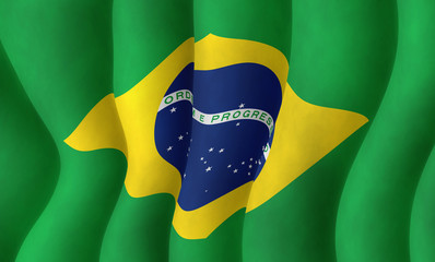 Illustraion of a flying Brazilian Flag