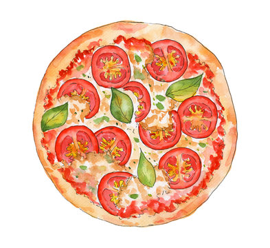 Watercolor pizza  margherita with tomatoes, basil and cheese. Illustration isolated on a white background. Sketch