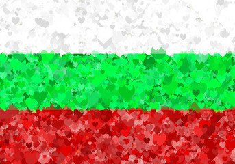 Illustration of a Bulgarian flag with a heart motives scattered around